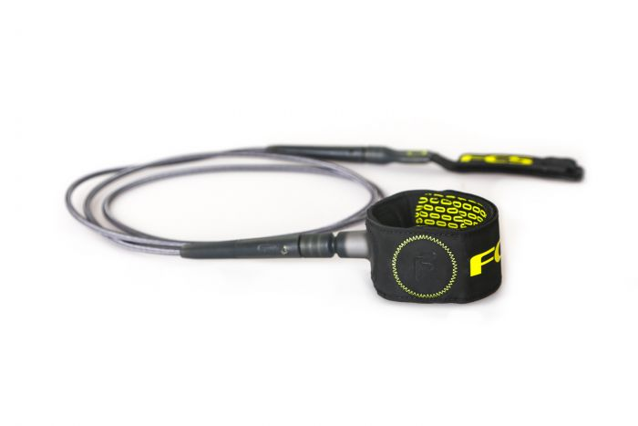 FCS 6' Freedom Leash - Charcoal/Yellow 1