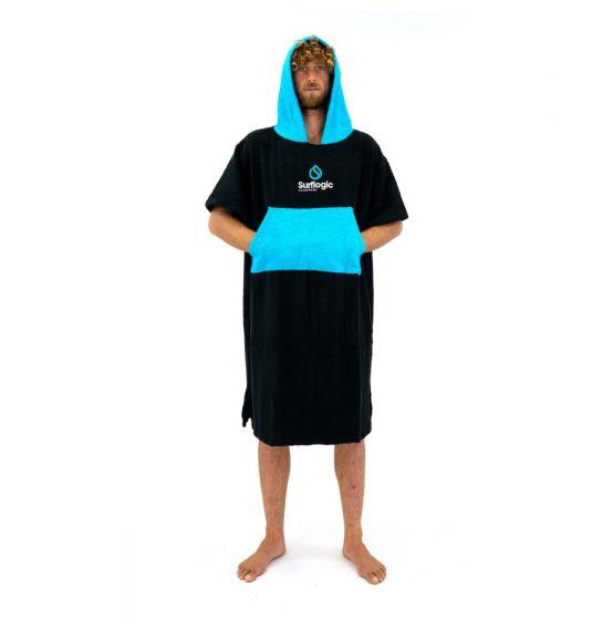 Surflogic Poncho Changing Towel - Black/Cyan