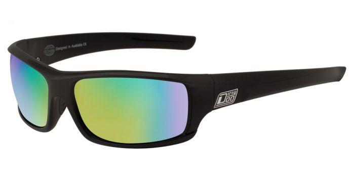 Dirty Dog Clank Polarised Sunglasses - Satin Black/Green Mirror