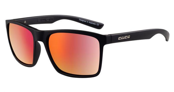 Dirty Dog Droid Sunglasses - Satin Black/Red Fusion Polarised