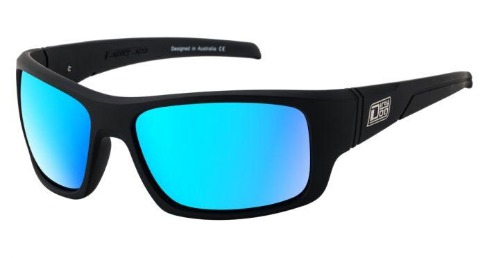 Dirty Dog Stray Sunglasses - Satin Black/Ice Blue Mirror Polarised