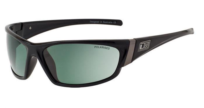 Dirty Dog Stoat Sunglasses - Black/Green Polarised