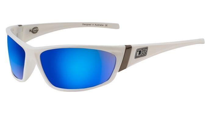 Dirty Dog Stoat Sunglasses - White/Blue Fusion Mirror Polarised