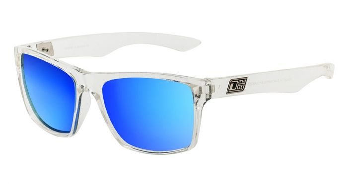 Dirty Dog Vendetta Sunglasses - Crystal/Blue Mirror Polarised