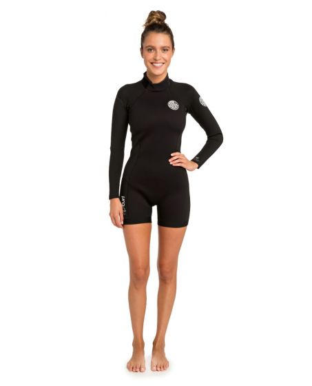 Rip Curl Womens Dawn Patrol 2/2mm Long Sleeve Shorty Wetsuit 2021 - Black - Front View