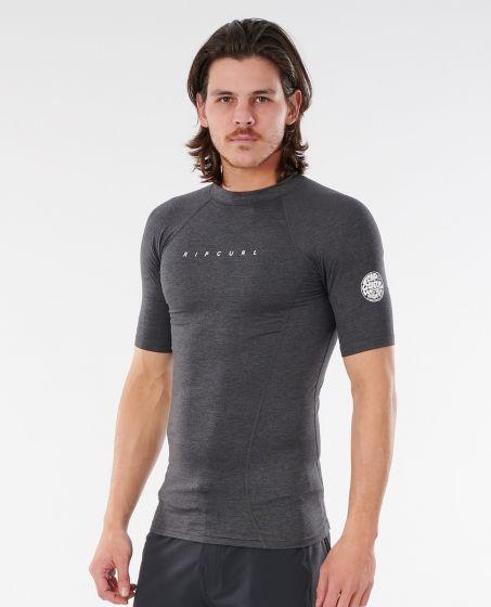 Rip Curl Dawn Patrol Short Sleeve Mens Rash Vest 2021 - Black