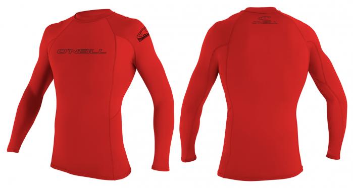 O´Neill Skins Mens Long Sleeve Rash Vest 2016 - Red