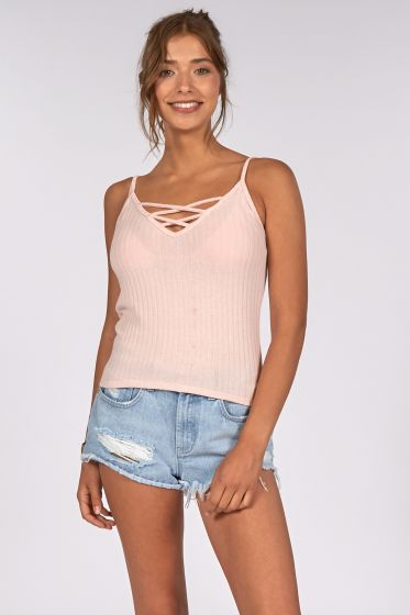 Billabong Carry On Knit Ladies Tank Top - (Pink)