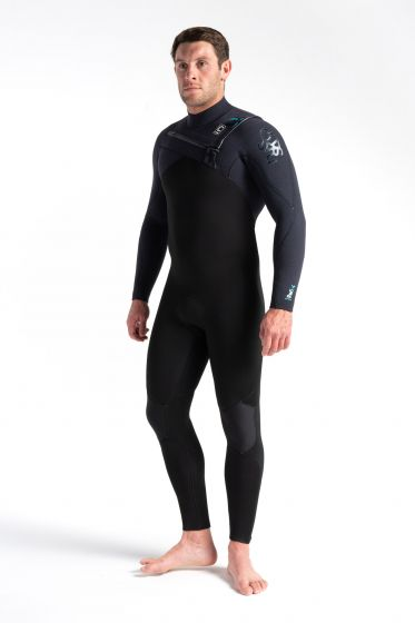 C Skins Re-Wired 5/4mm Chest Zip Wetsuit 2021 - Black / Ultra Cyan