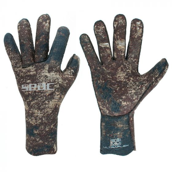 SEAC Ultraflex 3mm Wetsuit Gloves 2021 - Camo Brown - Full View