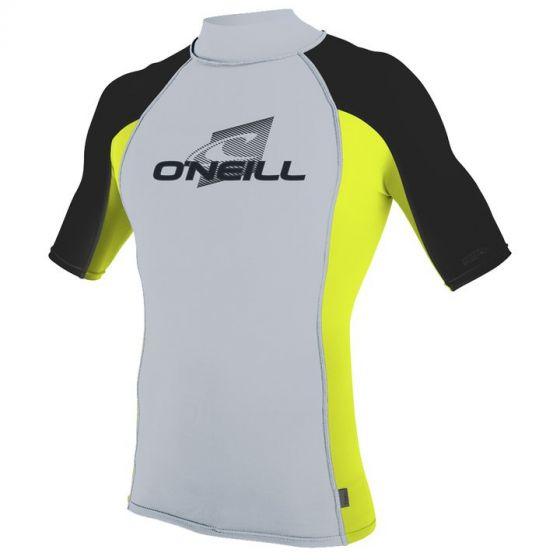 O'Neill Skins Short Sleeve Turtleneck Rash Vest 2018 - Cool Grey/ Dayglo/ Black