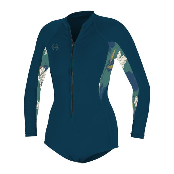 O'Neill Womens Bahia 2/1mm Front Zip L/Sleeve Wetsuit Shorty