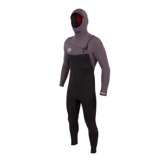 Ocean and Earth Free-Flex 5/4mm Chest Zip Hooded Wetsuit 2021 - Charcoal - Front