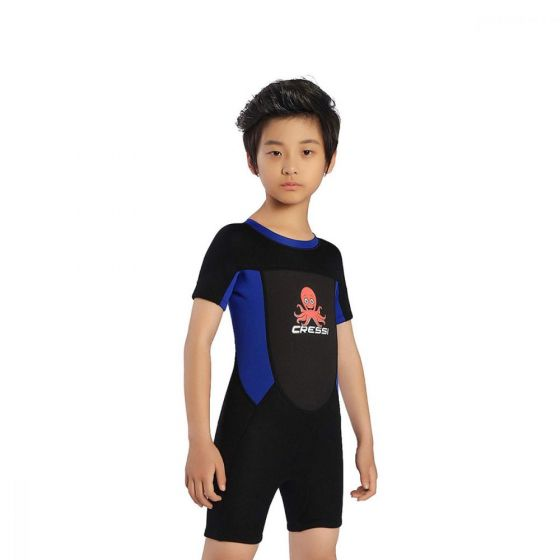 Cressi Smoby Junior Shorty Wetsuit 2021 - Black/Blue - Front