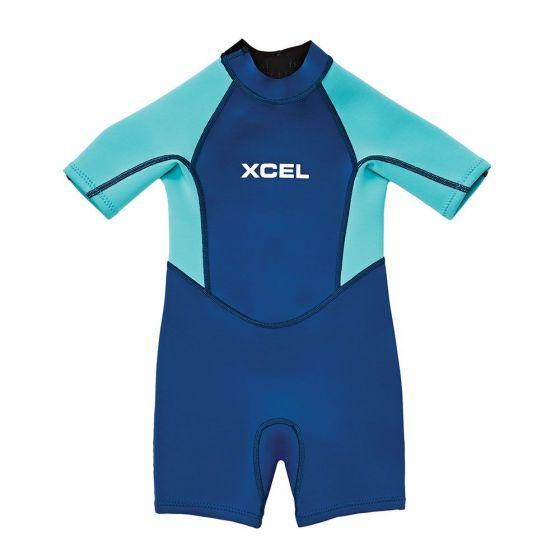 Xcel Toddler Short Sleeve Spring 1mm Wetsuit - Cyan