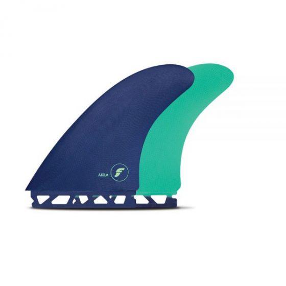 Futures Akila Fibreglass Twin Fin Set in Blue/Green