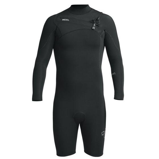 Xcel Comp X 2mm Long Sleeve Mens Chest Zip Shorty Wetsuit