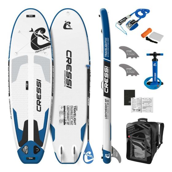 """Cressi Travel Light  9'2 """" iSUP  Element Standup Paddle Board - White/Blue - Full View"""