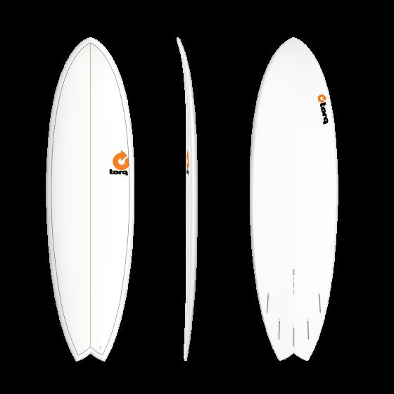 Torq MOD Fish 6ft 6 Surfboard - White Pinline