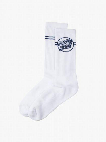 Santa Cruz Men's Opus Dot Stripe Sock - White/Navy - Front