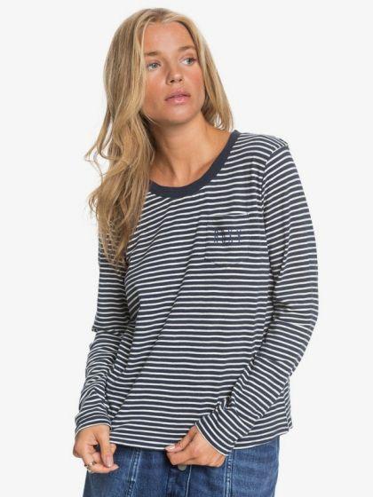 Roxy Women's 'Feel Sand' Long Sleeve Tee - 'Mood Indigo Stripes'