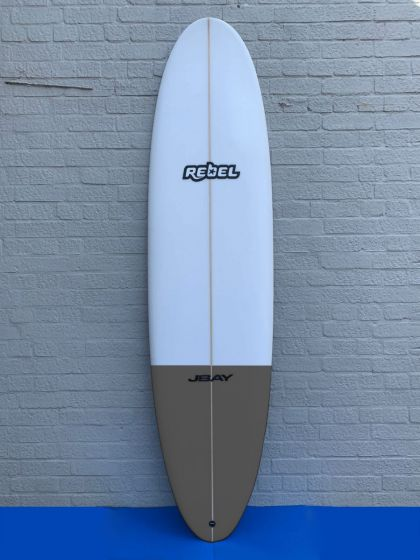 Rebel Mini Mal PU Surfboard - White/Grey Tail Dip