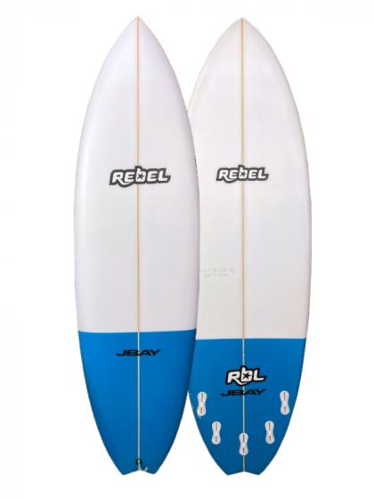 Rebel Hybrid Shortboard 6ft 0 PU Surfboard - White/Blue Tail Dip