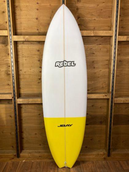 Rebel Hybrid Shortboard 6ft 4 PU Surfboard - White/Yellow Tail Dip