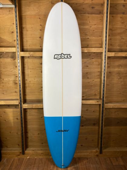 Rebel Mini Mal PU Surfboard - White/Blue Tail Dip