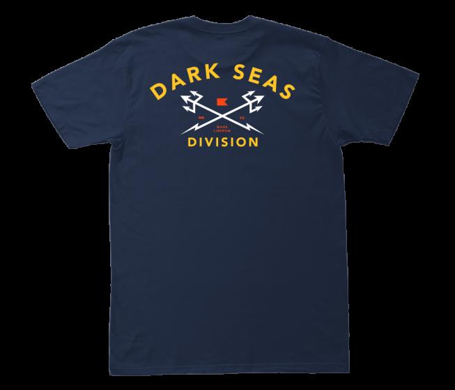Dark Seas Headmaster Mens T Shirt in Navy/Gold