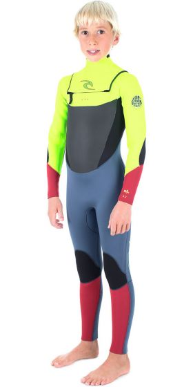 Rip Curl Kids Chest Zip 4mm Dawn Patrol Wetsuit lemon