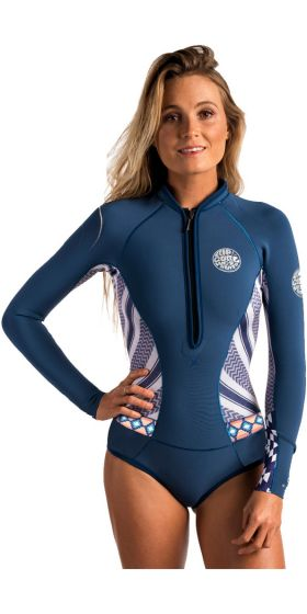 Rip Curl G Bomb 1mm Long Sleevet Shorty Wetsuit 2017 - Navy