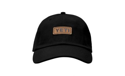 Yeti Leather Logo Badge Soft Crown Cap - Leather Black - Front