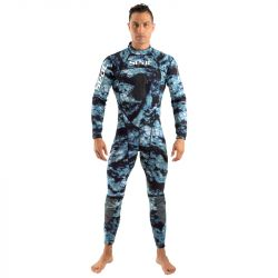 SEAC Body Fit 1/5mm Mens Wetsuit 2021 - Camo Blue - Front