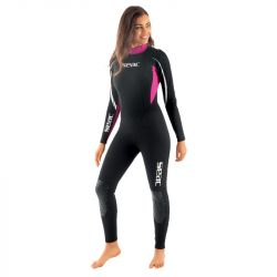 SEAC Relax 2/2mm Womens Summer Wetsuit 2021 - Black/Pink - Front