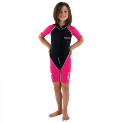 SEAC Dolphin Girl 1/5mm Shorty Wetsuit 2021 - Black/Blue  - Front