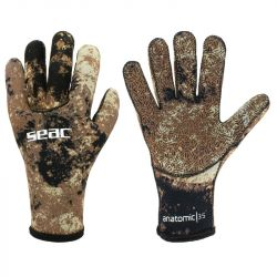 SEAC Anatomic 3/5mm Camo Diving Wetsuit Gloves 2021 - Brown - Front and Back