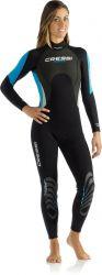 Cressi Morea Monopiece 3mm Womens Wetsuit 2021 - Black/Blue