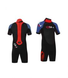 Tiki Junior Tech 3.2mm SHorty Wetsuit 2021 - Black/Red - Front and Back View