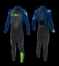 Tiki Mens Tech 4.3mm Wetsuit 2021 - Black/Blue - Full View