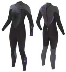 Tiki Womens Tech 4.3mm Wetsuit 2021 - Black/Purple - Front and Back