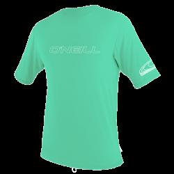 O'Neill Youth Basic Skins Short Sleeve Sun Shirt  2021 - Light Aqua - Front