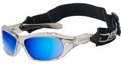 Dirty Dog Curl II Floating Sunglasses - Clear/Blue Mirror Polarised