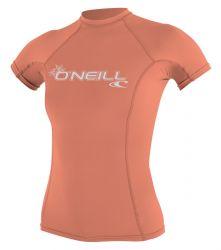 O'Neill Womens Basic Skins  Short Sleeve Rash Vest 2021 - Light Grapefruit - Front