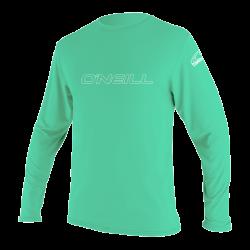 O'Neill Youth Basic Skins Long Sleeve Sun Shirt  2021 - Light Aqua - Front
