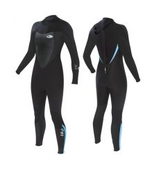 Tiki Womens Tech 4.3mm Wetsuit 2021 - Black/Blue - Back and Front View