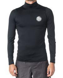 Rip Curl Corpo Long Sleeve High Neck Mens Rash Vest 2021 - Black