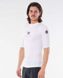 Rip Curl Corpo Short Sleeve Mens Rash Vest 2021 - White