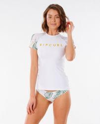Rip Curl Coastal Palms Short Sleeve Womens Rash Vest 2021 - White