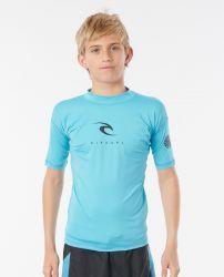 Rip Curl Junior Boys Corpo Short Sleeve Rash Vest 2021 - Blue